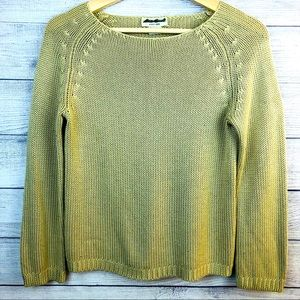 V Eddie Bauer Sweater Tan 100% Cotton Long Sleeve